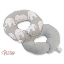 Cestovní polštářek oboustranný pro miminko - SLONI na šedém