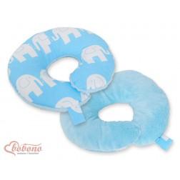 Cestovní polštářek oboustranný pro miminko - SLONI na modrém