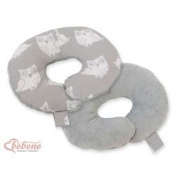 Cestovní polštářek oboustranný pro miminko - SOVY na šedém