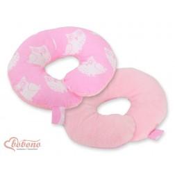 Cestovní polštářek oboustranný pro miminko - SOVY na růžovém