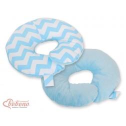 Cestovní polštářek oboustranný pro miminko - CIKCAK modrý + modrý plyš
