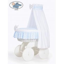 Proutěný koš na miminko s nebesy HANNAH bílý - CIKCAK modrý