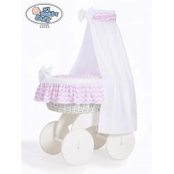 Proutěný koš na miminko s nebesy HANNAH bílý - CIKCAK růžový