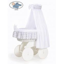 Proutěný koš na miminko s nebesy HANNAH bílý - CIKCAK šedý