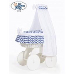 Proutěný koš na miminko s nebesy HANNAH bílý - CIKCAK tmavě modrý