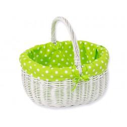 Proutěný nákupní koš bílý - puntíky na zeleném