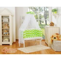 Dětská postýlka MINI FABIO s kompletní výbavou SIMLE - sovy zelené