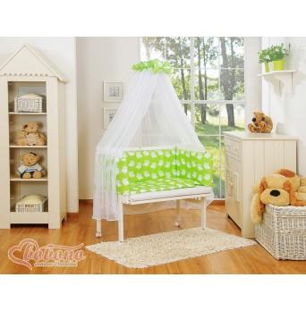 Dětská postýlka MINI FABIO s kompletní výbavou SIMPLE - sovy zelené