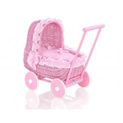 Proutěný kočárek pro panenku tmavě růžový