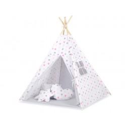 Dětský stan TÝPÍ s oboustrannou dekou a polštářky - hvězdy šedorůžové + šedá
