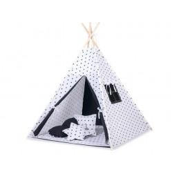 Dětský stan TÝPÍ s oboustrannou dekou (bez polštářků)- hvězdy černé + černá