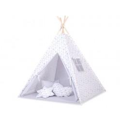 Dětský stan TÝPÍ s oboustrannou dekou (bez polštářků)- šipky šedé