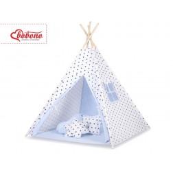 Dětský stan TÝPÍ (bez deky na podlaze a bez polštářků) - hvězdy černé + modrá