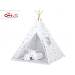 Dětský stan TÝPÍ (bez deky na podlaze a bez polštářků) - hvězdy šedomodré + šedá