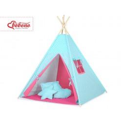 Dětský stan TÝPÍ (bez deky na podlaze a bez polštářků) - puntíky na tyrkysovém + růžová