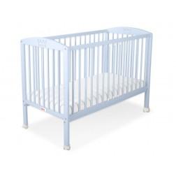 Dětská postýlka vyřezávaná KORUNA modrá + kolečka