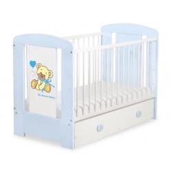 Dětská postýlka MÉĎA S MAŠLÍ modrá se šuplíkem - modrá