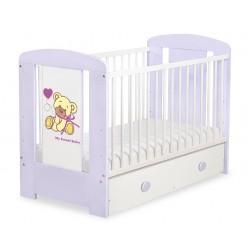 Dětská postýlka MÉĎA S MAŠLÍ fialová se šuplíkem - fialová