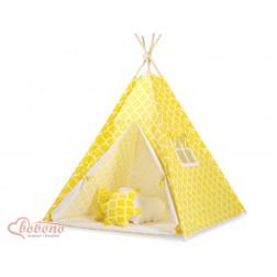 Dětský stan TÝPÍ s oboustrannou dekou (bez polštářků) - MAROKO žluté
