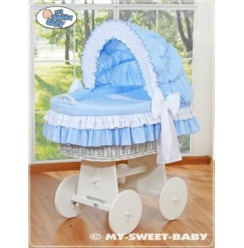 Bílý proutěný koš na miminko - modré obšití