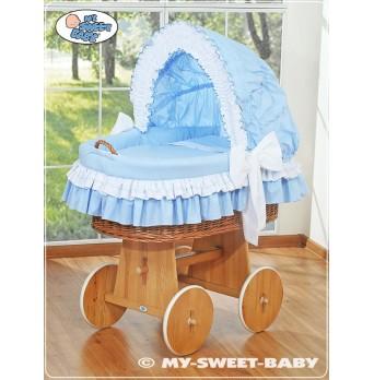Luxusní proutěný koš na miminko - modré obšití