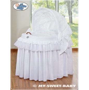 Proutěný koš pro miminko kolekce KORUNA - bílý