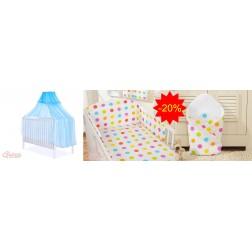 Dětská postýlka kompletní výbava BASIC 548 + kojící polštář ZDARMA - moskytiéra krémová