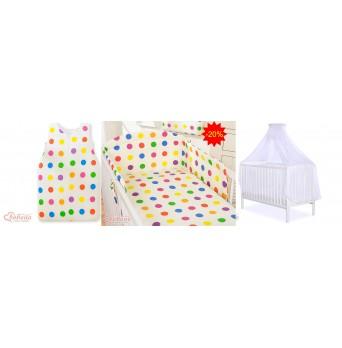 Dětská postýlka kompletní výbava BASIC 549 + kojící polštář ZDARMA - moskytiéra bílá