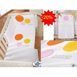 Dětská postýlka kompletní výbava BUBBLES oranžová se zásobníkem