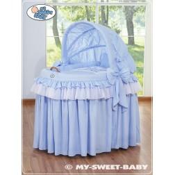 Proutěný koš pro miminko kolekce KORUNA - modrý