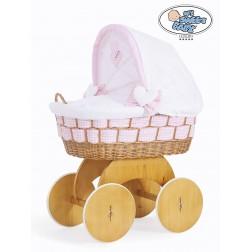 Proutěný koš s boudou Alessandra bílá + růžová kostka