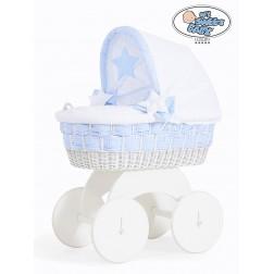 Proutěný koš s boudou bílý Isabella bílá + modrá kostka