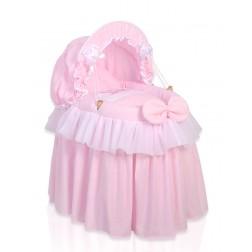 Romantická postýlka pro panenku s boudou - Koruna růžová