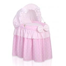 Romantická postýlka pro panenku s boudou - růžová