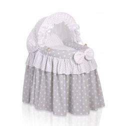 Romantická postýlka pro panenku s boudou - šedá