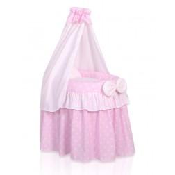 Romantická postýlka pro panenku s nebesy - růžová