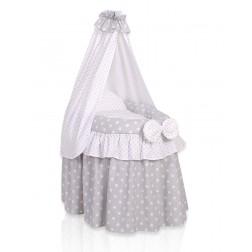 Romantická postýlka pro panenku s nebesy - šedá