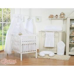Dětská postýlka kompletní výbava SRDÍČKA nebesa bavlna - bílá
