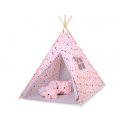 Dětský stan TÝPÍ s oboustrannou dekou (bez polštářků) - hvězdy růžové a modré + šedá
