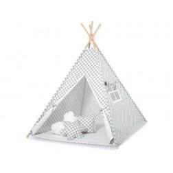 Dětský stan TÝPÍ s oboustrannou dekou (bez polštářků) - kolečka na šedé