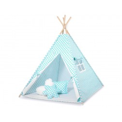 Dětský stan TÝPÍ s oboustrannou dekou (bez polštářků) - kolečka na tyrkysové