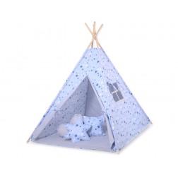 Dětský stan TÝPÍ (bez deky na podlaze a bez polštářků) - hvězdy modré + šedá