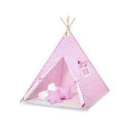 Dětský stan TÝPÍ (bez deky na podlaze a bez polštářků) - kolečka na růžové