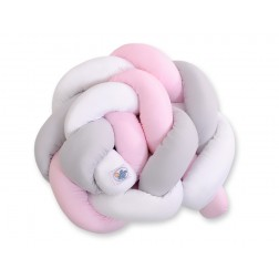 Mantinel pletený do copu MAGIC LOOP - bílá + šedá + růžová