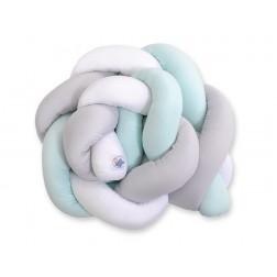 Mantinel pletený do copu MAGIC LOOP - bílá + šedá + mátová