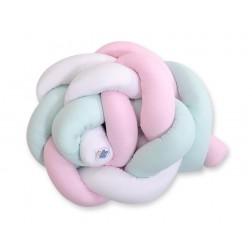 Mantinel pletený do copu MAGIC LOOP - bílá + růžová + mátová