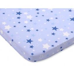 Bavlněné prostěradlo 120x60 cm - hvězdy modré