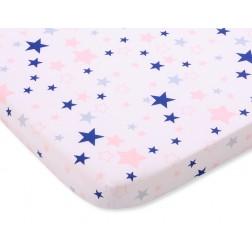 Bavlněné prostěradlo 120x60 cm - hvězdy modré a růžové na bílém