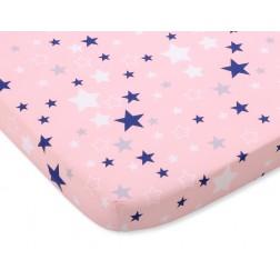 Bavlněné prostěradlo 120x60 cm - hvězdy modré a růžové na růžovém