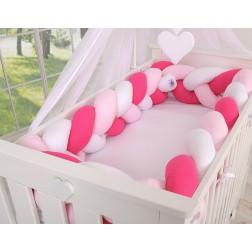 Mantinel XXL pletený do copu MAGIC LOOP - bílá + růžová + tmavě růžová